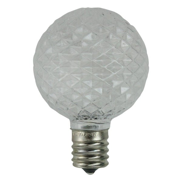 Pack of 25 Faceted LED G50 Clear Christmas Replacement Bulbs