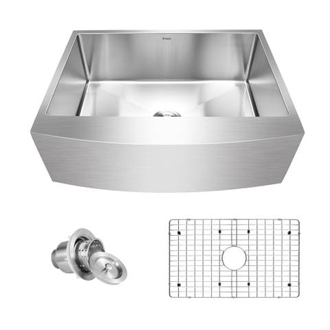 "Inoxs 30"" x 21"" x 10"" Farmhouse Apron Front Single Bowl 16 Gauge Stainless Steel Kitchen Sink/I-ACS3021"