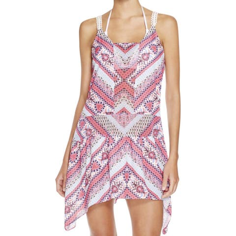 Becca Pink White Blue Womens Size Medium M Cover-Up Swimwear