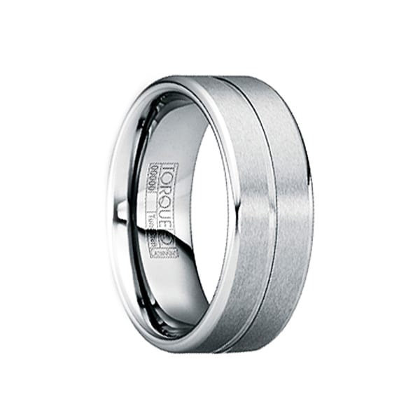 LUCIANUS Brushed Single Groove Tungsten Band with Polished Beveled Edges by Crown Ring