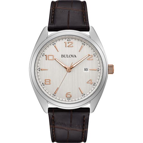 Bulova Men's 98B347 Stainless Brown Leather Strap Watch - Silver-Tone