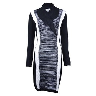 Calvin Klein Women's Colorblock Shawl Collar Sweater Dress