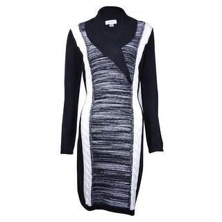 Calvin Klein Women's Colorblock Shawl Collar Sweater Dress - Black/Charcoal
