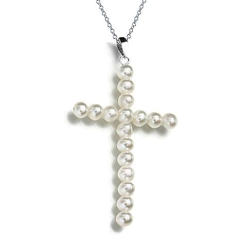 White Freshwater Cultured Cross Pendant Necklace 925 Sterling Silver