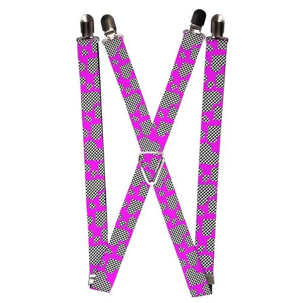 Buckle Down Women's Elastic Pop Art Heart Print Clilp End Suspenders - One size