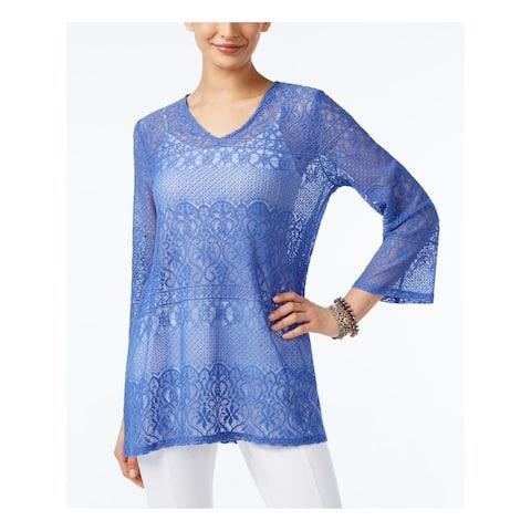 ALFANI Womens Blue Lace Printed 3/4 Sleeve V Neck Tunic Top Size S