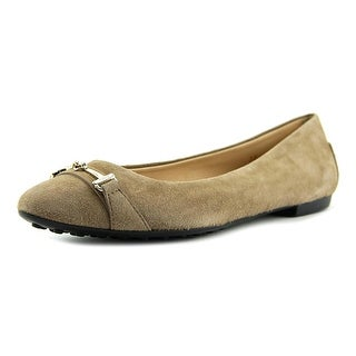 Tod's Ball. Gomma OD Mor. Doppia T Micro Women Round Toe Suede Tan Ballet Flats