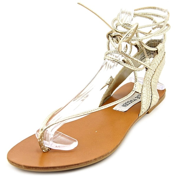 Steve Madden Walkitt Women Open Toe Synthetic Gold Gladiator Sandal