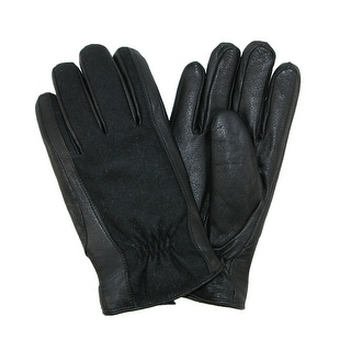 Isotoner Men's Wool and Leather Gloves - Black