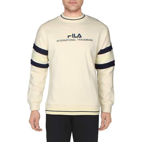 Fila Mens Adamo Sweatshirt Fitness Activewear - Bleached Sand/Peacoat/Lemon