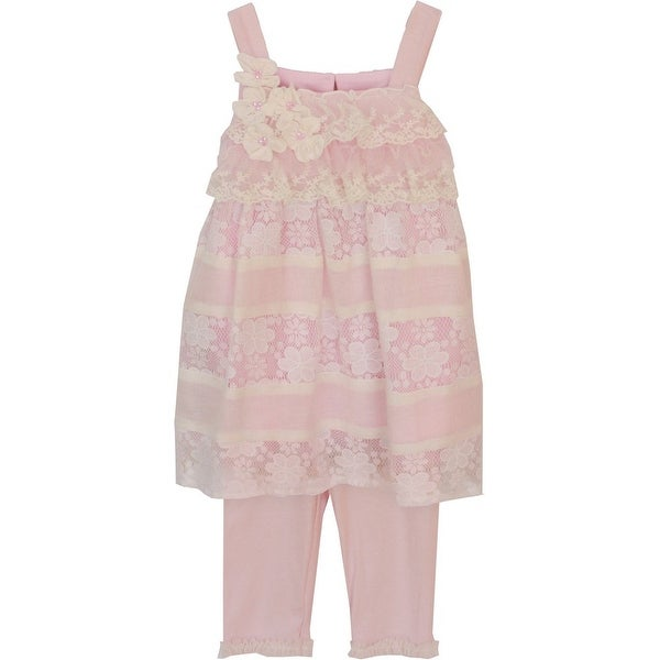 Isobella & Chloe Baby Girls Light Pink Primrose Two Piece Pant Outfit Set 3M-24M