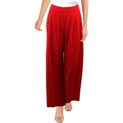 Aqua Womens Wide Leg Pants Side Slit Pintuck - Red