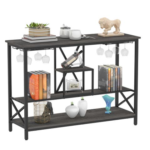 Rustic TV Stand Sofa Console Table with Storage Shelves for TV Up To 50 Inch for Living Room, Bedroom - Antique Oak