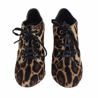 Dolce & Gabbana Brown Leopard Leather Skin Booties Shoes - 40