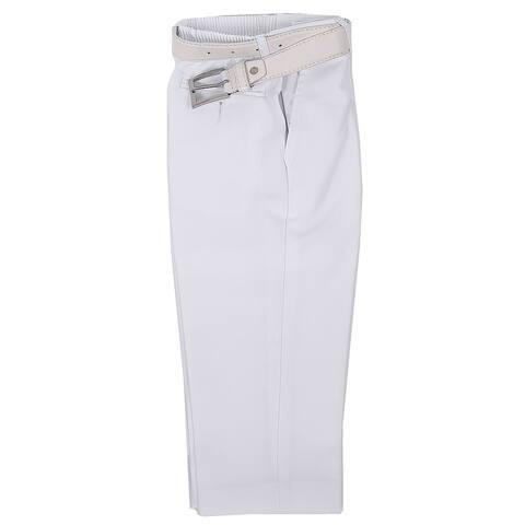 Rafael Little Boys White Dress Pants Matching White Belt Set