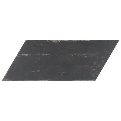 SomerTile 7.125x16.375-inch Lambris Naveta Nero Porcelain Floor and Wall Tile (13 tiles/11.07 sqft.)