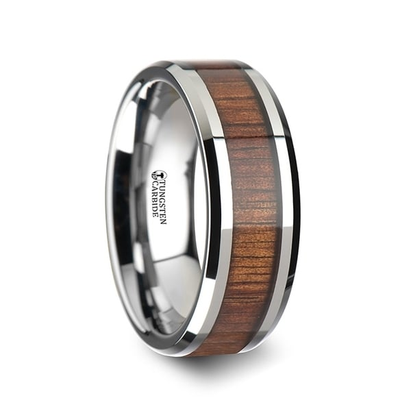 KONA Koa Wood Inlaid Tungsten Carbide Ring with Bevels