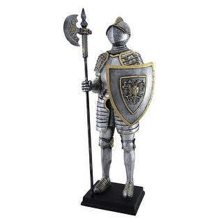 Medieval Armor Knight With Poleaxe and Shield Statue - Silver