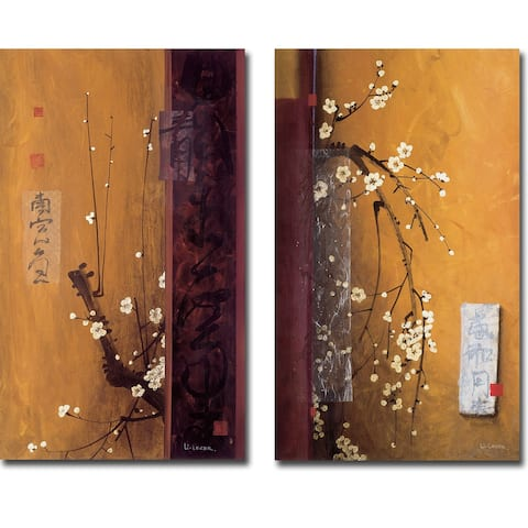 Oriental Blossoms I & III by Don Li-Leger 2-pc Gallery Wrapped Canvas Giclee Set (20 in x 12 in Each Canvas in Set)
