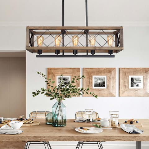 """Rustic 5-light Linear Island Chandelier Rectangle Wood Pendant Lighting for Dining Room - L 31.45""""x W 10""""*H 10"""""""