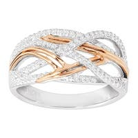 1/5 ct Diamond Woven Band Ring in Sterling Silver & 14K Rose Gold