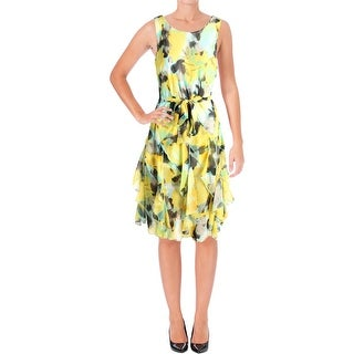 Signature By Robbie Bee Womens Petites Party Dress Water Color Yellow 10P