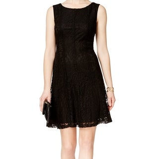 Connected Apparel NEW Black Women's Size 8 Lace Knit Sheath Dress