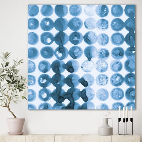 Designart 'Indigo watercolor geometrical VII ' Contemporary Canvas Art - Blue