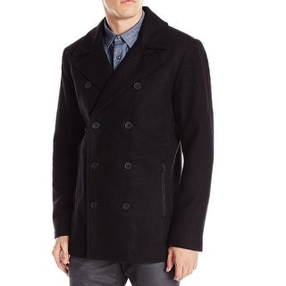 Kenneth Cole Reaction Black Mens Size 2XL Double Breasted Peacoat