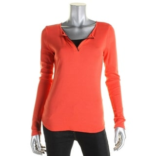 Three Dots Womens Pullover Top Contrast Trim V-Neck