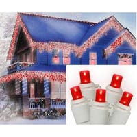 Set of 70 Red LED Wide Angle Icicle Christmas Lights - White Wire