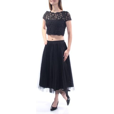 Womens Black Short Sleeve Maxi Accordion Pleat Prom Dress Size: 6