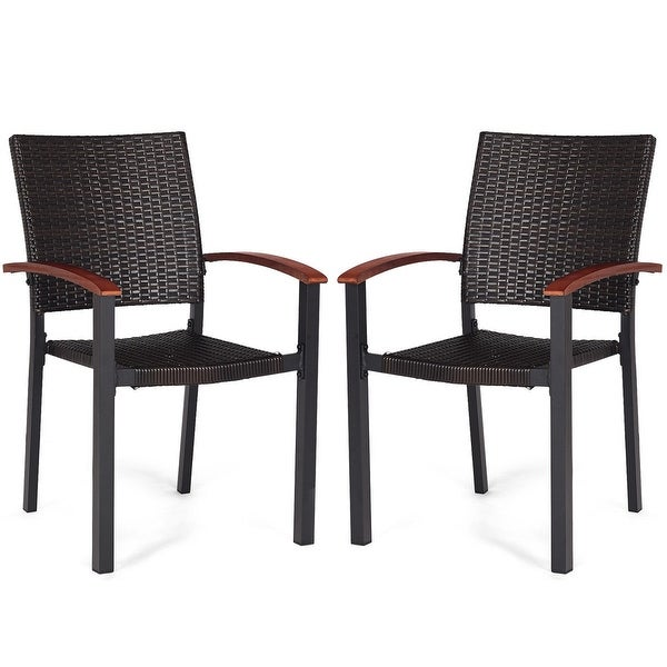 Shop Costway 2PCS Patio Dining Chairs Armchair Stackable