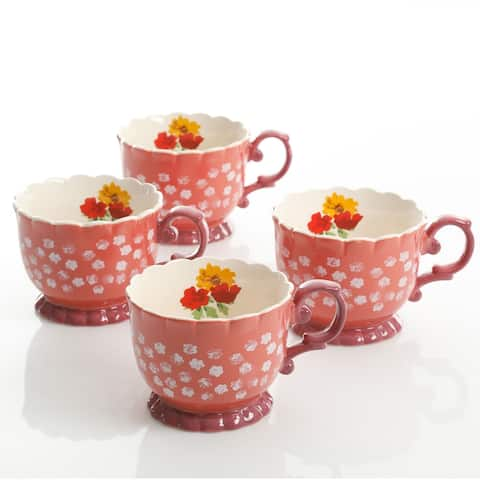 Urban Market Life on the Farm 4 Piece 20 Ounce Durastone Footed Cup Floral Set in Red
