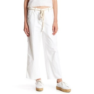 Free People White Womens Size 0 Carpenter Wide-Leg Cropped Jeans