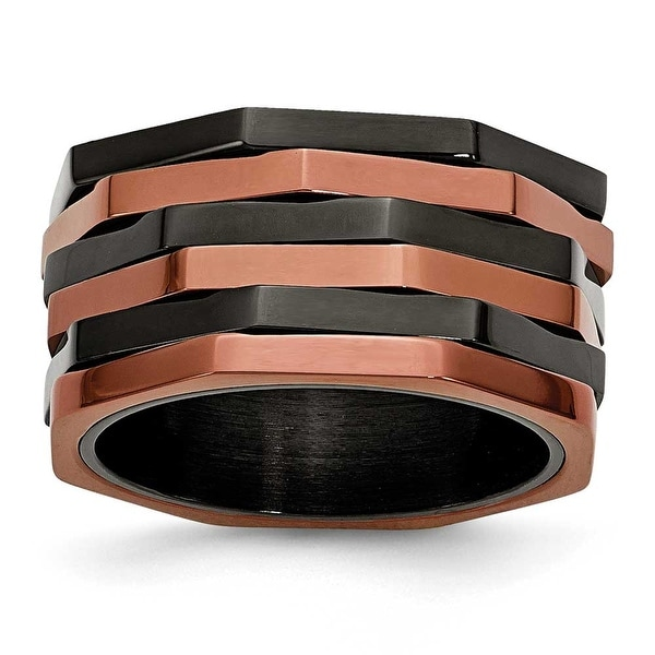 Chisel Stainless Steel Black & Brown IP-plated Ring (12 mm)