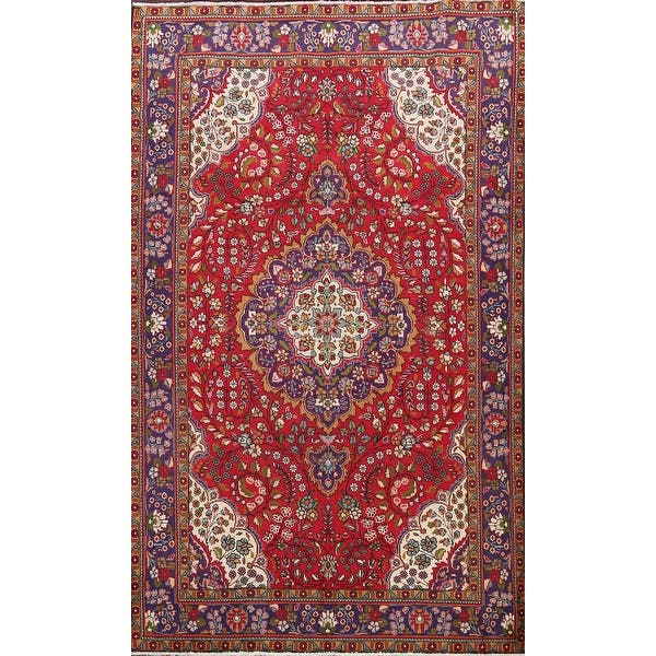 Vintage Floral Tabriz Persian Area Rug Hand Knotted Red Wool Carpet 6 9 X 9 8 On Sale Overstock 31430249