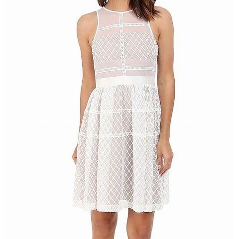 Donna Morgan Nude White Womens Size 6 Embroidered Sheath Dress