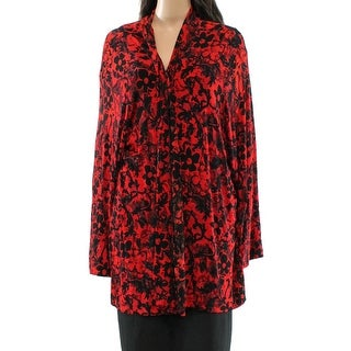 Calvin Klein NEW Red Women's Size 2X Plus Floral Cardigan Sweater