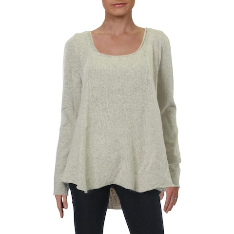 Dee Elle Womens Sweater Ribbed Scoop Neck - Sand