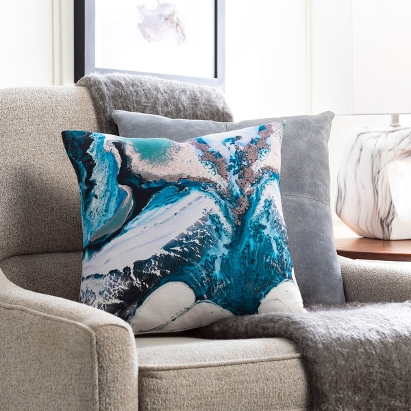 Braden Blue Abstract Wave Throw Pillow. Opens flyout.