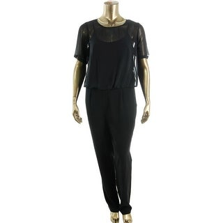 Calvin Klein Womens Crepe Blouson Jumpsuit - 8