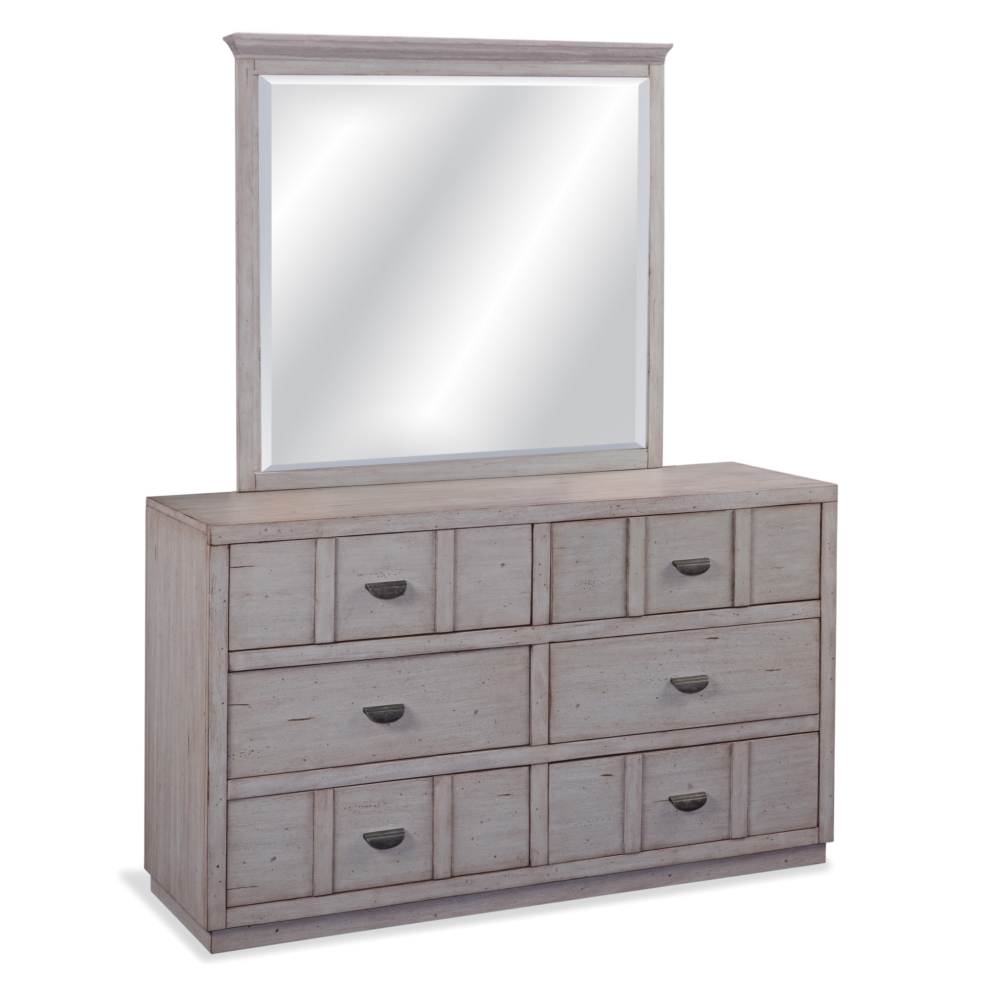 Parker Driftwood 6 Drawer Double Dresser With Mirror Overstock 20716403