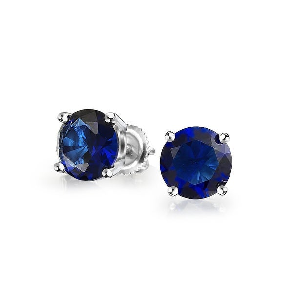 2fddb94cf Shop .75 CT Blue Round Cubic Zirconia Brilliant Cut CZ Solitaire Stud  Earrings Imitation Sapphire Sterling Silver Screwback - On Sale - Free  Shipping On ...