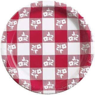 Gingham Banquet Plate 8/Pkg-Red