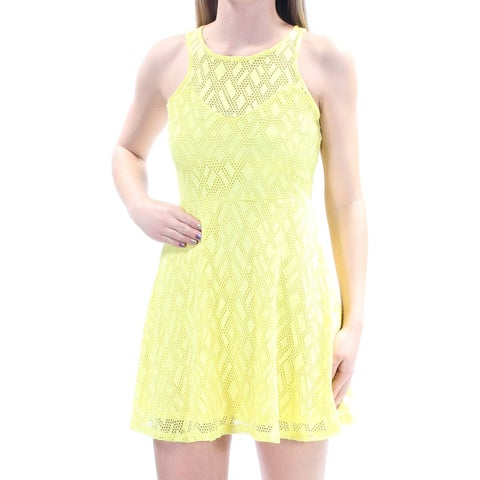 Womens Yellow Sleeveless Above The Knee Casual Dress Size: XS