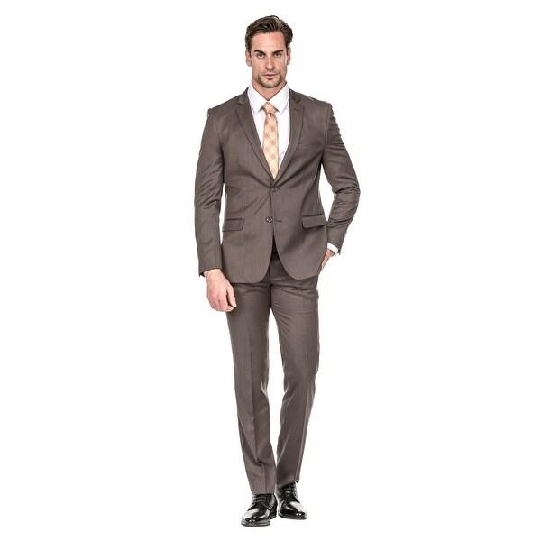 89363ee3d3 Shop Porto Filo Men's Brown 2 Piece Slim Fit Suit - Free Shipping ...
