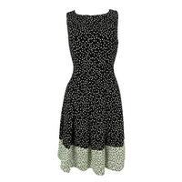 Ralph Lauren Women's Polka Dot Print Sleveeless Dress - Black/White - 12