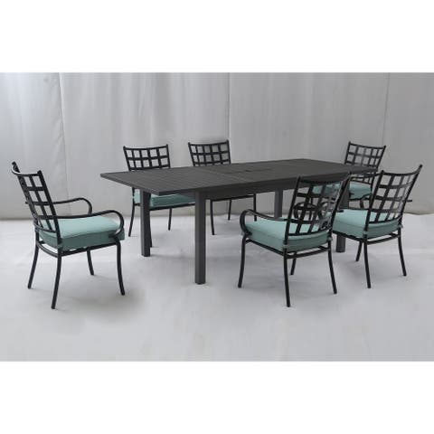Princeton 7pc Aluminum Dining Set with Butterfly Extension Table, Light Blue