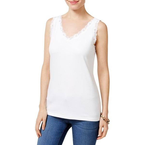 7eec2bcfef6014 Shop Karen Scott Womens Tank Top Cotton Lace-Trim - Free Shipping On Orders  Over  45 - Overstock - 20881273